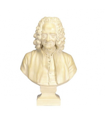 Voltaire bust with wig by Jean-Antoine Houdon