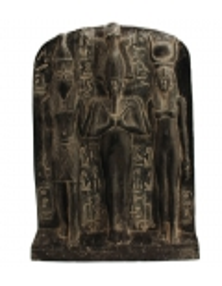 Egyptian triad bas-relief Horus, Isis and Osiris