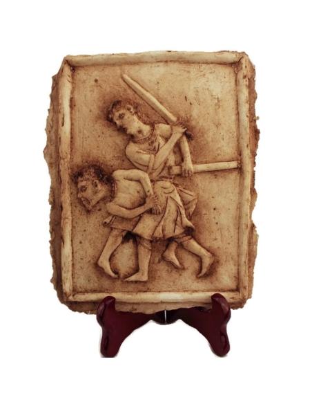 Bajorrelieve duelo de gladiadores romanos