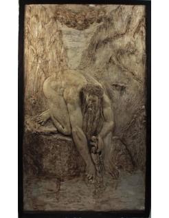 """Bas relief Antée déposant Dante dans le Cocyte """"La Divine Comédie"""""""