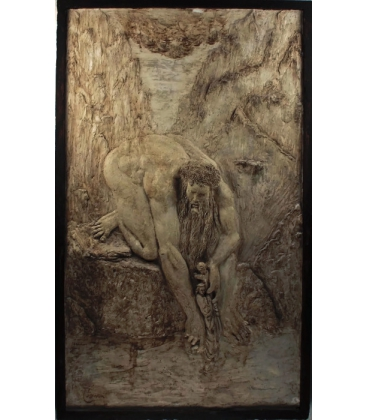 """Low relief Anteus depositing Dante in the Cocyte """"The Divine Comedy""""."""