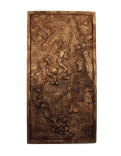 Bajorrelieve Don Quijote de la Mancha - colorido bronce pulido