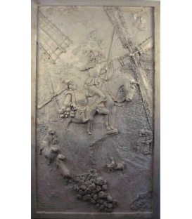 Low relief Don Quixote de la Mancha - off-white color