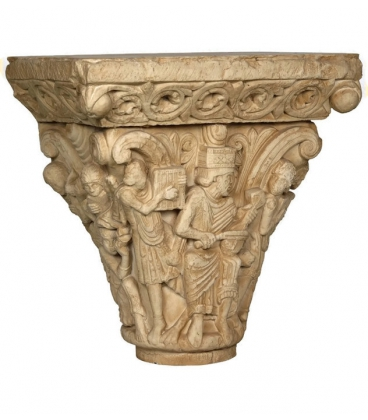 Romanesque Capitel of King David with musicians