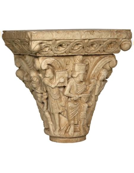 Capitel románico del rey David con músicos