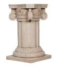 Table base with capitel in travertine marble color
