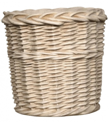 Rustic style planter pot with decoration in rattan design