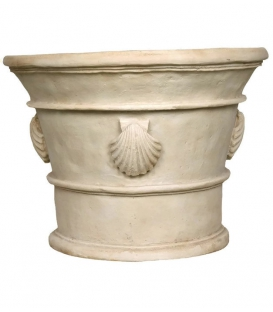 Planter pot with shell decorations