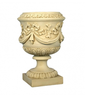 Large vase decorated with garlands