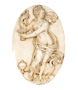Naked woman medallion accompanied with peacock