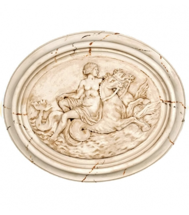Medallion naked woman mounted on sea horses
