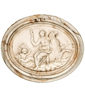 Medallion naked woman mounted on sea seahorses, surrounded by angel
