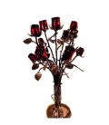Bouquet of rose buds in wrought iron
