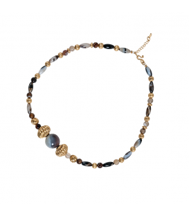 Simashki golden-plated and agate necklace