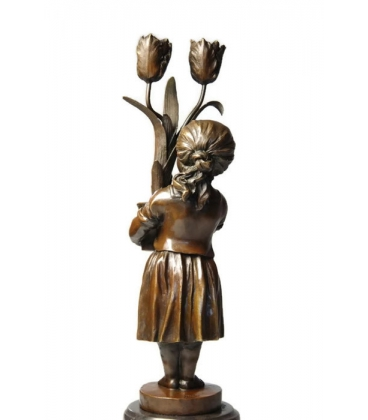 Candelabra young girl with tulips Art Nouveau by Miguel Fernando López (Milo)