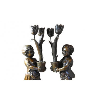 Candelabras young children with tulips Art Nouveau by Miguel Fernando López (Milo)