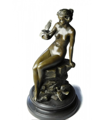 Young woman naked with dove by Ferdinand Preiss