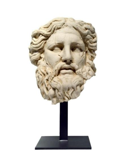 Tête de Zeus avec base en fer