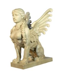 Estatua de esfinge alado