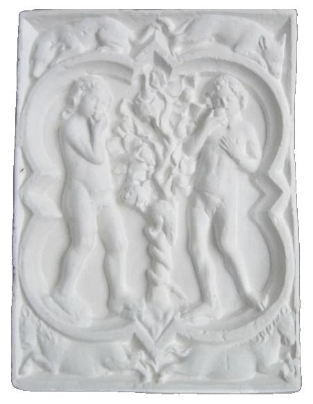 Rosace Quatrefeuilles Adam et Eve de la Cathédrale de Rouen - XIVe siècle