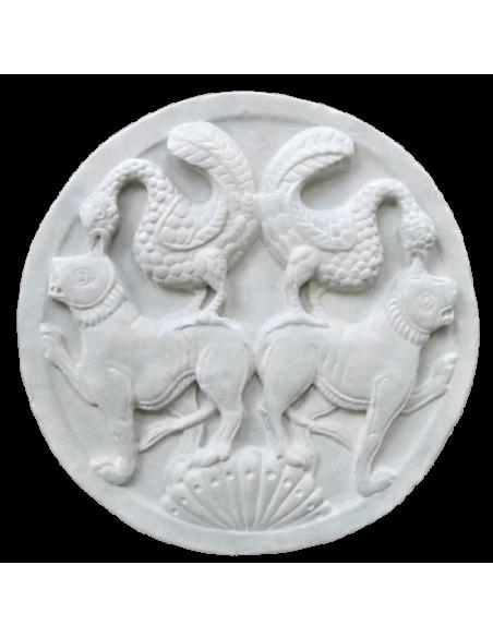 Medallón aves y leones Museo de Picardía Amiens Francia - Siglo XII