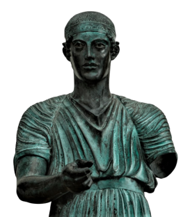 The Charioteer of Delph or Heniokhos - life-size statue