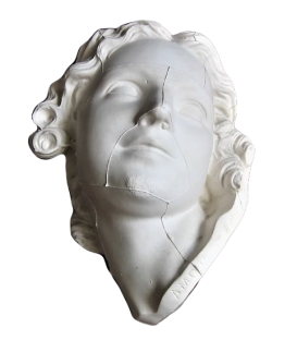 Bust of Love carving a bow in the mace of Hercules by Edme Bouchardon