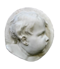 Child in profile on the right side in Dutch baroque style