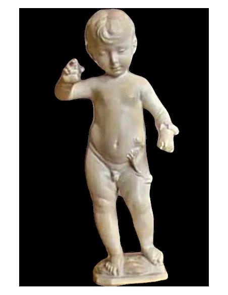 Estatua del Niño Jesús bendiciendo y sosteniendo la corona de espinas y clavos por Desidario de Sattignano