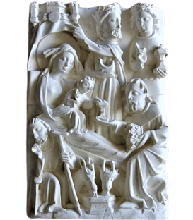 Nativity scene bas relief
