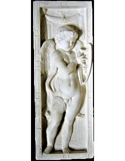 Bajorrelieve ángel tocando la lira
