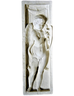 Bas relief ange jouant de la lyre