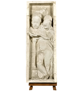 Bas relief of angels singing Bible verses - right side