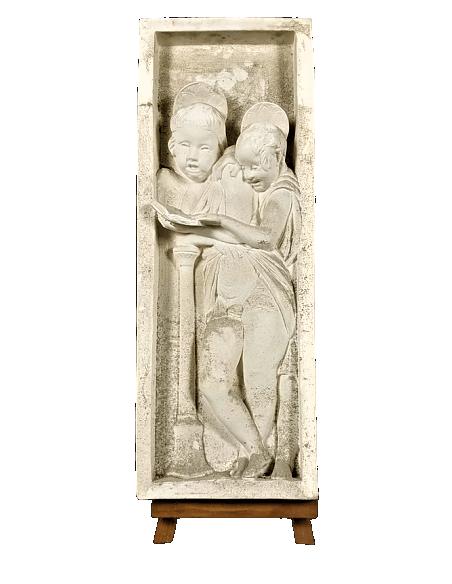 Bas relief anges chantant les versets de la Bible - côté droit