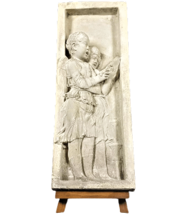 Bas relief angels singing Bible verses - left side