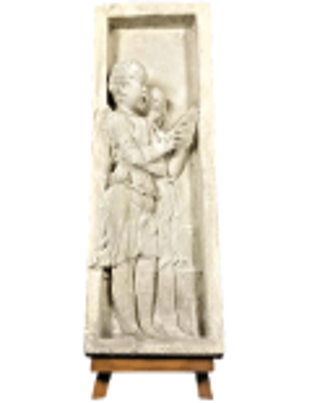 Bas relief angels singing Bible verses - left side