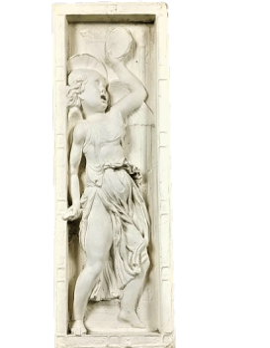 Bas relief ange jouant du tambour et cymbales