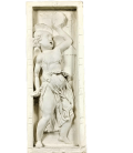 Bas relief angel playing drum and cymbals