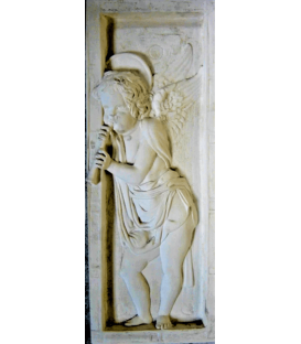 Bas relief angel playing flute - right side