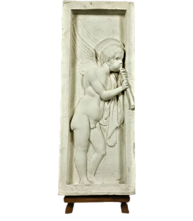 Bas relief angel playing flute - left side