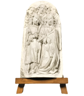 Bas relief choir of angels singing Bible verses and playing the lyre