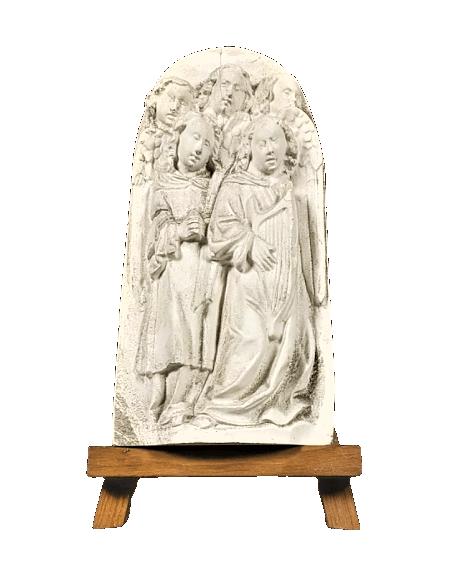 Bas relief chœur d'anges chantant les versets de la Bible et jouant de la lyre