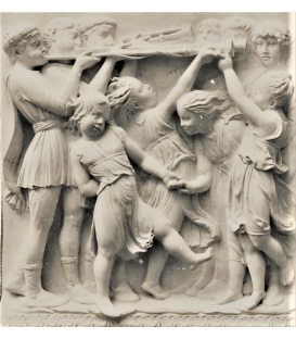 Bas relief children dancing to the sound of trumpet players
