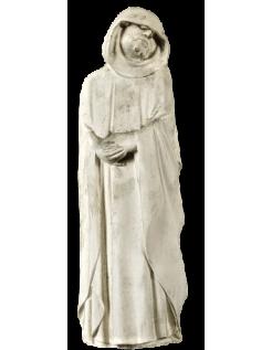Estatua de Llorón con capucha caída, escondiendo sus ojos en lágrimas y las manos unidas en oración