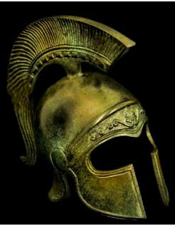 Yelmo antiguo ateniense en bronce