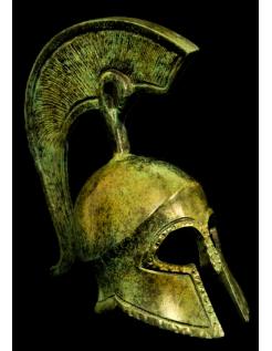 Yelmo griego antiguo en bronce