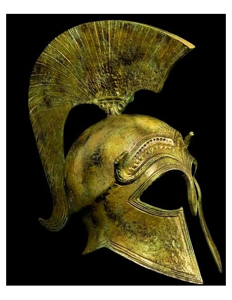 Yelmo corintio antiguo en bronce