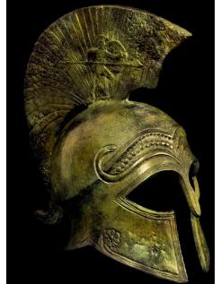 Yelmo antiguo corintio de bronce inspirado por el Metropolitan Museum of Art