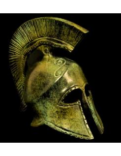 Yelmo corintio de bronce con símbolo de la serpiente