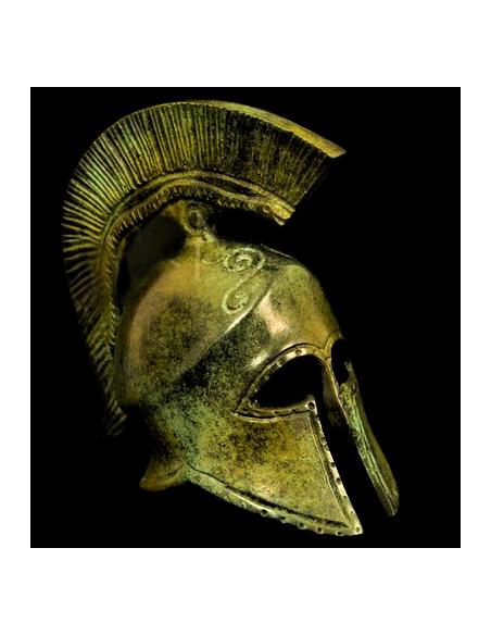 Corinthian helmet in bronze with snake symbol